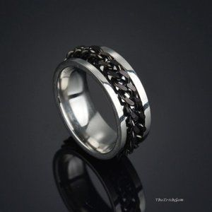 Other - Stainless Steel Curb Chain Spinner Band Ring black